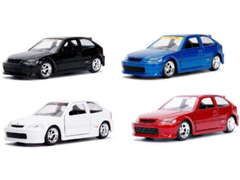 Jada 30487 WA1 JDM Tuners 1997 Honda Civic Type-R 1:32 4 Colors Set
