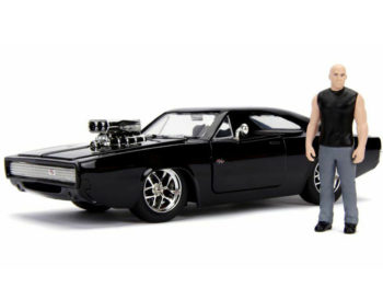 Jada 30737 Fast & Furious 1970 Dodge Charger 1:24 with Dom Figure Black