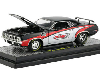 M2 40300 71 A 1971 Plymouth Barracuda Hemi Comp Cams 1:24 Black Red White