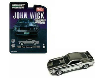 Greenlight 51228 John Wick 1969 Ford Mustang Boss 429 1:64 Chrome with Black Stripes