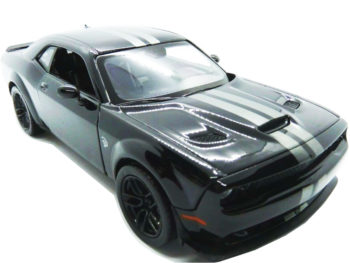 Motormax 79350 2018 Dodge Challenger SRT Widebody 1:24 Black with Grey Stripes