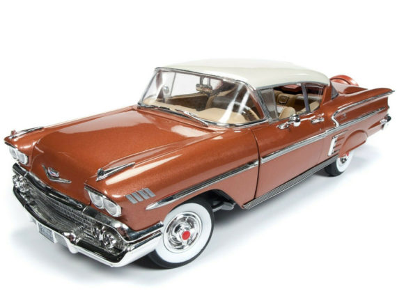 Autoworld Amm1164 1958 Chevrolet Bel Air Impala 1:18 Sierra Gold with White Top