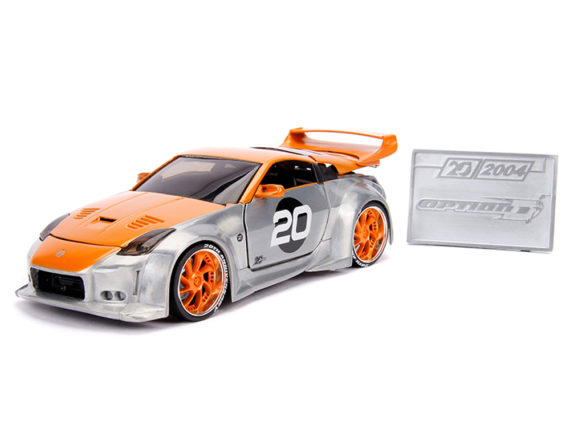 Jada 31071 20th Anniversary Option D 2003 Nissan 350Z 1:24 Orange / Raw Metal