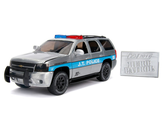 Jada 31076 20th Anniversary Hero Patrol 2010 Chevrolet Tahoe 1:24 Raw Metal with Blue Side Stripe
