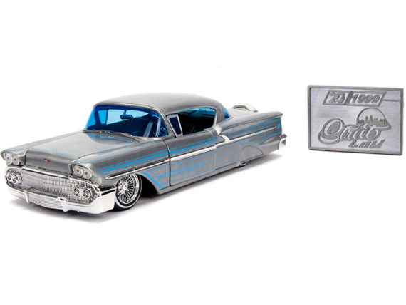 Jada 31082 20th Anniversary Street Low 1958 Chevrolet Impala 1:24 Raw Metal with Blue Line Details