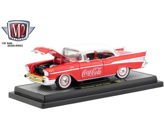 M2 Machines 50300 RW03 Coca Cola Coke 1957 Chevrolet Bel Air 1:24 Red