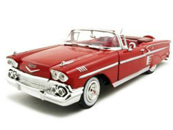 Motormax 73267 1958 Chevrolet Impala Convertible 1:24 Red