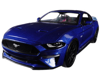 Motormax 79352 2018 Ford Mustang GT 5.0 1:24 with Black Wheels Blue