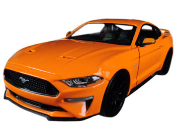 Motormax 79352 2018 Ford Mustang GT 5.0 1:24 with Black Wheels Orange