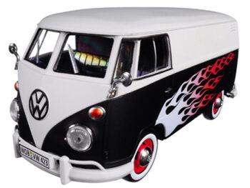 Motormax 79566 Volkswagen Type 2 T1 Delivery Van 1:24 with Flame Design Matte Black White
