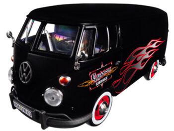 Motormax 79567 Volkswagen Type 2 T1 Delivery Van 1:24 with Flame Design Matte Black