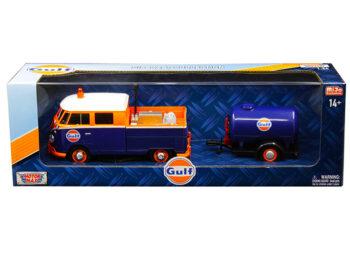 Motormax 79610 Volkswagen Service Pick Up Truck with Plastic Oil Tank 1:24 Gulf Oil Blue