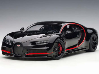 AUTOart 70991 2017 Bugatti Chiron 1:18 Nocturne Black with Red Accents