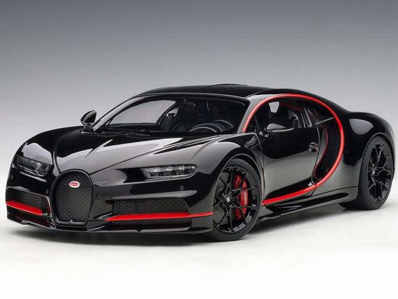 AUTOart 70991 2017 Bugatti Chiron 1:18 Nocturne Black with Red Accents