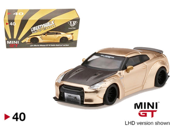 Mini GT MGT00040-R Liberty Walk LB Works Nissan GT-R R35 Shizuoka Hobby Show 2019 1:64 Satin Gold with Carbon