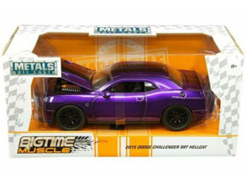 Jada 31063 Bigtime Muscle 2015 Dodge Challenger SRT Hellcat 1:24 Purple with black stripes