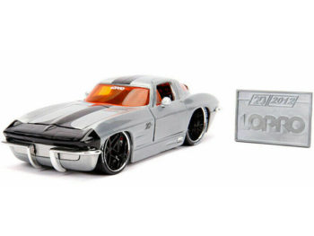 Jada 31079 20th Anniversary Lopro 1963 Chevrolet Corvette Sting Ray 1:24 Raw Metal