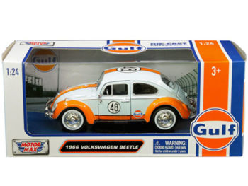 Motormax 79655 1966 Volkswagen Beetle 1:24 Gulf oil Racing Light Blue