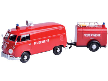 Motormax 79671 Volkswagen Type 2 T1 Service Pick Truck with Oil Trailer 1:24 Red