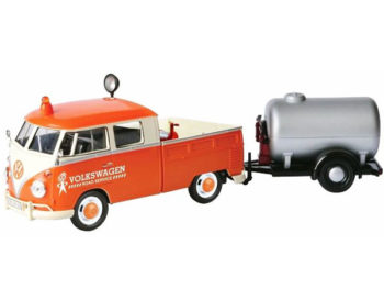 Motormax 79674 Volkswagen Type 2 T1 Service Pick Truck with Oil Trailer 1:24 Orange