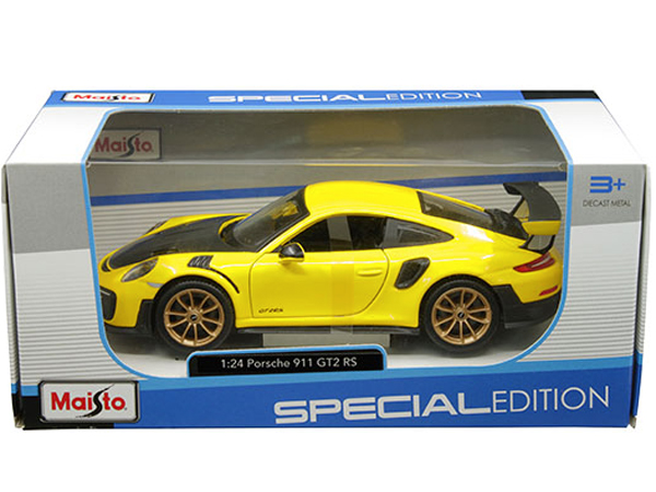 Maisto 31523 Porsche 911 Gt2 Rs 1 24 Matte Black Yellow Bt Diecast